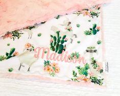 Llama and Cactus, Coral Blossom Galaxy Cactus Bedroom, Baby Cactus, Cactus Care, Cactus Illustration, Baby Llama, Galaxy Theme, Nursery Themes, Nursery Ideas, Minky Blanket