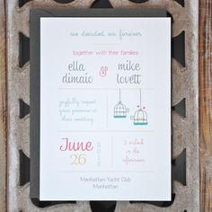 cute! Wedding Invitations . Wedding Invites . Love Birds Wedding Invitations . Birds Wedding Invitations - Stay With Me Forever. $2.50, via Etsy.