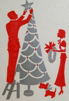 Vintage Silhouette Art Deco Christmas Card with Scottish Terrier  Scottie Dog  Tree  Wreath