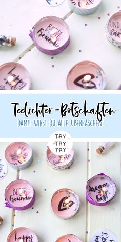 DIY gifts: tealight messages for birthdays, New Years Eve or just like that - D. - DIY gifts: tealight messages for birthdays, New Years Eve or just like that – DIY gifts: tealigh - Birthday Rewards, Birthday Presents, Xmas Presents, Birthday Diy, Diy Gifts For Friends, Holiday Break, Inexpensive Gift, Nouvel An, Birthday Messages