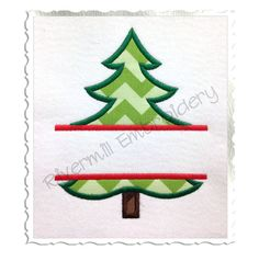 Split Applique Christmas Tree Machine Embroidery Design - 5 Sizes on Etsy, $2.95