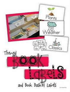 the BEST book bin labels i have seen (& free)! It also has great  tiny corresponding labels for each book, so students can know which bin  the books go in!