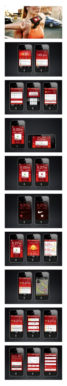 Nike+ GPS by Adam Jesberger, via Behance  ***  Map your runs, track your progress and get the motivation you need to keep going.   R/GA's groundbreaking Nike+ campaign has evolved. Now the Nike+ GPS App takes the Nike+ experience out of your shoe and into your pocket, connecting you to the world's largest running club no matter what brand of shoe you're wearing...