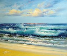 Caribbean Seascape Paintings | ... -Caribbean-Sea-Surf-Waves-Beach-Sunset-Stretched-20X24-Oil-Painting