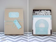 use tags with twine; like cd packaging