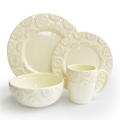 American Atelier Bianca Flower Ivory 16-piece Set | Overstock™ Shopping - Great Deals on American Atelier Casual Dinnerware