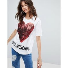 Love Moschino Sequin Heart T-shirt (£110) ❤ liked on Polyvore featuring tops, t-shirts, white, crew neck tee, print tees, print t shirts, white crew neck t shirt and cut out t shirt