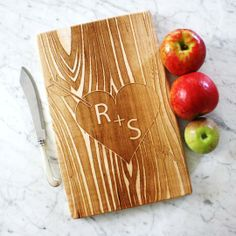 Customized Wooden Cutting Board. Carved initials on tree. by Milk & Honey | Hatch.co