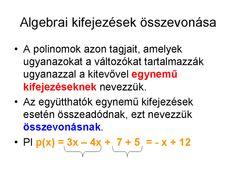 Matematika elmélet és feladatok: Algebrai kifejezések