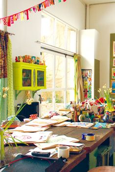 Luv this♡♡ Bright, colorful, creative studio space