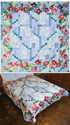 APRIL SHOWERS QUILT PATTERN  I like the appliqued borders on this quilt, but would want a focal point for the center of the bed.