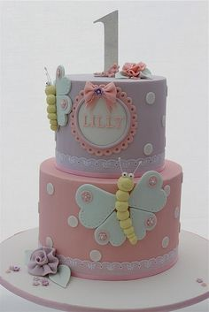 Kids Butterfly Cake Fondant Birthday Cakes