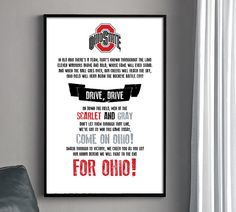 OSU Fight Song Poster  THE Ohio State University by HENANDCO, $22.00