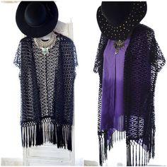 Gypsy Kimono, Bohemian netted fringed duster, Boho clothing, Summerfest Lollapalooza Festival Kimono fringe jacket , True rebel clothing New