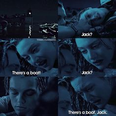"""As soon as she said """"There's a boat, Jack."""" I started crying like a baby Titanic Movie Quotes, Film Quotes, Romance Movies, Drama Movies, Sad Movies, Movie Tv, Rms Titanic, Titanic Art, Young Leonardo Dicaprio"""