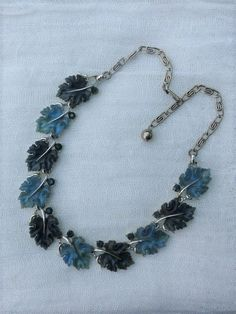 LISNER - Vintage 1960s Silver-tone Chain Necklace With Two-tone Blue Lucite Leaves by VintageJewelleryFun on Etsy