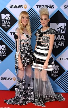 Sheer delight: Miriam Nervo (R) and Olivia Nervo of Australian EDM, electro house duo Nervo complemented one another's looks
