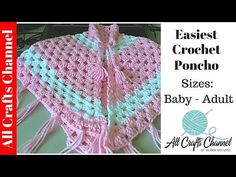 Easiest Crochet Poncho - Baby to Adult sizes - Yolanda Soto Lopez - YouTube