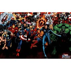 Marvel Heroes Attack Art Poster Print  24x36 Poster Print 36x24 * Read more reviews of the product by visiting the link on the image.Note:It is affiliate link to Amazon.