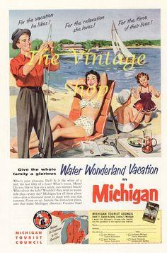 1950s Michigan Vacation Graphic Vintage Magazine