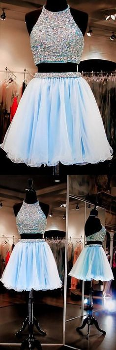 Boho Prom Dresses, New Arrival two pieces halter sparkly backless crop tops freshman homecoming prom gowns dress, OHbridal Boho Prom Dresses, New Arri Baby Blue Homecoming Dress, Freshman Homecoming Dresses, Cheap Homecoming Dresses, Cute Prom Dresses, Grad Dresses, Dance Dresses, Pretty Dresses, Evening Dresses, Prom Gowns