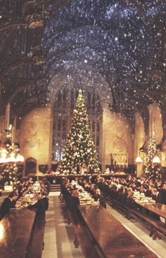 Want to celebrate the holiday season in a truly magical way, Harry Potter fans? Then how about a winter dinner in the Great Hall at Hogwarts. Natal Do Harry Potter, Harry Potter Navidad, Harry Potter Weihnachten, Mundo Harry Potter, Hogwarts Christmas, Noel Christmas, Magical Christmas, Christmas Christmas, Christmas Tumblr
