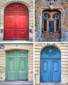 Paris door photograph -- collage photo of parisian entrance ways, colorful, picture, architecture, house, building, wall decor, fine art.