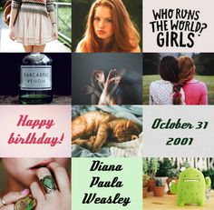Harry Potter the Next Generation (Birthday): Diana Paula Weasley • October 31, 2001 • Slytherin • Daria Sidorchuk