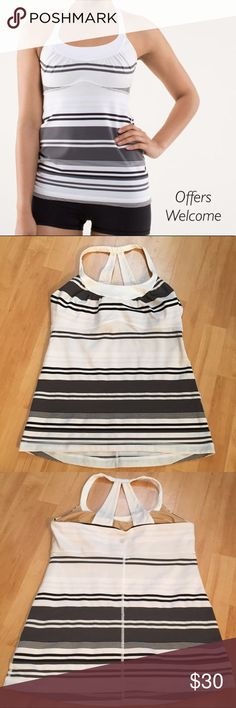 Lululemon Scoop Me Up size 10 Excellent condition! Worn 2-3 times. Grey, Black, White stripes. lululemon athletica Tops Tank Tops