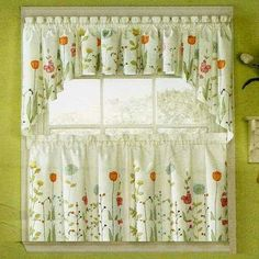 Kitchen shades are window dressings that are introduced on kitchen windows. Country Curtains, Cafe Curtains, Drapes Curtains, Valances, Curtain Styles, Curtain Designs, Kitchen Curtain Sets, Kitchen Curtains, Cortinas Country