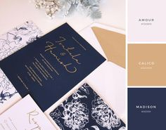 Floral Illustration, Navy & White with Gold Foil Wedding Stationery Invitation Suite Inspiration Wedding Paper, Gold Wedding, Floral Wedding, Wedding Cards, Wedding Day, Wedding Venues, Trendy Wedding, Luxury Wedding, Elegant Wedding