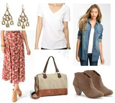Covered up in Summer - Outfit 3 Maxi-skirt + simple white tee+ light chambray top+ sparkly earrings + neutral bag + booties.