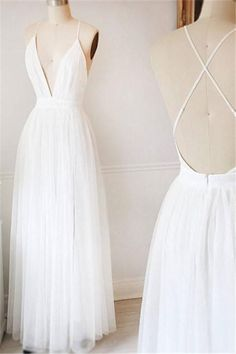 SIMPLE WHITE V NECK TULLE LONG PROM DRESS, WHITE EVENING DRESS#prom #fashion #mermaid #dress #dressbarn #promdress #okdressesy #style #love #elegant #promgown #promdresses #style #events #evening #eveningwear #party #partyideas #rhinestones #gowns #bridesmaid #lace #lacedress