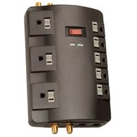 8 Outlet Entertainment Surge Protector 1800 Joules  with Coaxial/Phone/Fax/Modem Protection and 6 Foot Cord - Black is $9.99