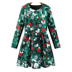 SheIn(sheinside) Green Long Sleeve Zipper Floral Pleated Dress (1.090 RUB) ❤ liked on Polyvore featuring dresses, sheinside, green, long sleeve dress, long-sleeve floral dresses, short green dress, green long sleeve dress and pleated dress