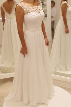 Simple A Line Backless Beach Wedding Dress Ball Gowns WD024