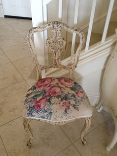 bark cloth roses chair- would love this in my pink room