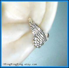 Tiny silver Angel wing ear cuff earring jewelry