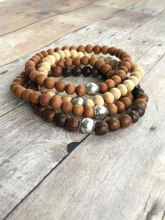 Sandalwood Bracelet / Sterling Silver Bali Bead / Brown Wood Bead Jewelry for Women, Men Wooden Jewelry, Beaded Jewelry, Silver Jewelry, Beaded Bracelets, Jewelry Shop, Fine Jewelry, Silver Ring, Cheap Jewelry, Silver Earrings