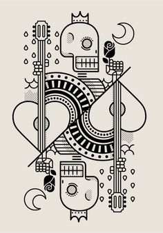 Surf Royale by Dario Genuardi. Cards, Skull, line drawing Graphic Design Illustration, Graphic Art, Illustration Art, Line Art, Art Graphique, Skull Art, Graphic Design Inspiration, Doodle Art, Vector Art