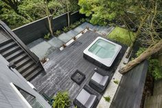 Contemporary-remodel-by-Michael-Kramer-and-Karen-Kramer - Garden Design Ideas Modern Garden Design, Patio Design, Landscape Design, Courtyard Design, House Design, Backyard Layout, Backyard Landscaping, Backyard Ideas, Pergola Patio