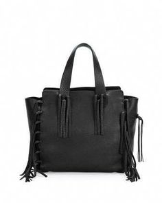 f13ee948d32ec C-Rockee Fringe Shopper Tote Bag, Black by Valentino at Neiman Marcus. #
