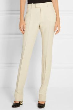 Gucci - Wool And Silk-blend Faille Straight-leg Pants - Cream - IT46