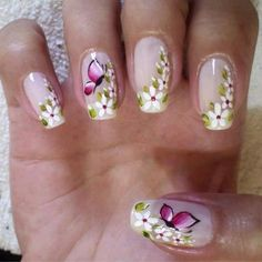 Pinned by www.SimpleNailArtTips.com ONE STROKE NAIL ART DESIGN IDEAS - Pink butterflies and white flowers