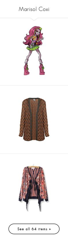 """""""Marisol Coxi"""" by darklinghatter ❤ liked on Polyvore featuring tops, cardigans, orange, glitter cardigan, brown cardigan, lurex cardigan, m missoni cardigan, open front cardigan, sweaters & cardigans and multi color cardigan"""