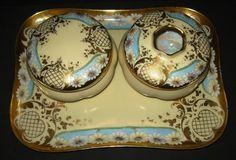 Antique Limoges Porcelain Dresser Vanity Set Signed MZ Austria Hand Painted Gilt