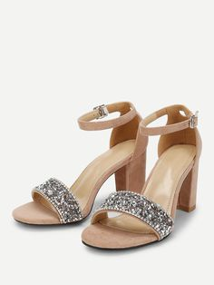 fed4a673b95ef Elegant Open Toe Ankle strap Apricot High Heel Chunky Rhinestone Decorated  Block Heeled Sandals Peep Toe