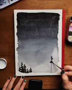 watercolor art I can never get enough of these watercolor night skies! Maybe thats why theyre my signature wilderness watercolor painting and my most popular Skillshare class Check out the class for an in-depth tutorial! Watercolor Night Sky, Watercolor Trees, Watercolor Landscape, Tattoo Watercolor, Watercolor Animals, Watercolor Background, Abstract Watercolor, Watercolor Illustration, Simple Watercolor Paintings