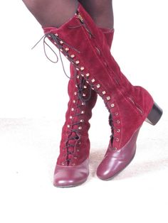 70's lace up  red suede go-go boots