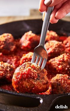 Make spaghetti night even better with these delicious Italian meatballs. Get the recipe at Delish.com. #italian #meatballs #best #easy #recipe #beef #andsauce